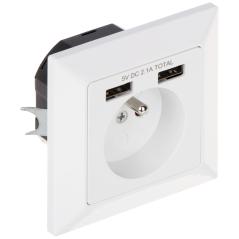 PRIZĂ ELECTRICĂ SIMPLĂ CU ALIMENTATOR USB OR-AE-13140 230 V 16 A ORNO
